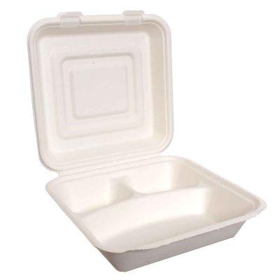 25 Box con coperchio per asporto 3 scomparti compostabili 25x25xh10cm