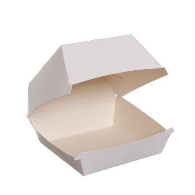100 Box con coperchio asporto hamburger cartoncino compostabile 10x10xh7,5cm