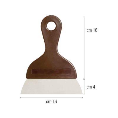 Spatola raschietta in acciaio inox e manico con lama liscia 16 cm