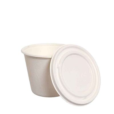 Ciotole coppe in polpa di cellulosa compostabili con coperchio Ø11 x h 8,5 cm