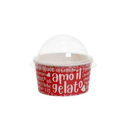 100 Coppette gelato in carta Funny rosse 170ml con coperchio a cupola