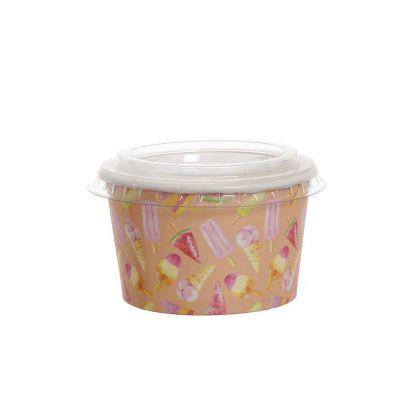 100 Coppette gelato in carta Madeline pesca 250ml con coperchio piatto