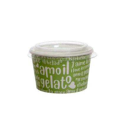 100 Coppette gelato in carta Funny verde 250ml con coperchio piatto