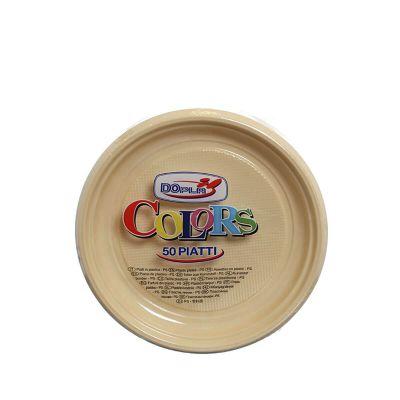 Piatti di plastica colorati per feste DOpla Colors Ø17 crema