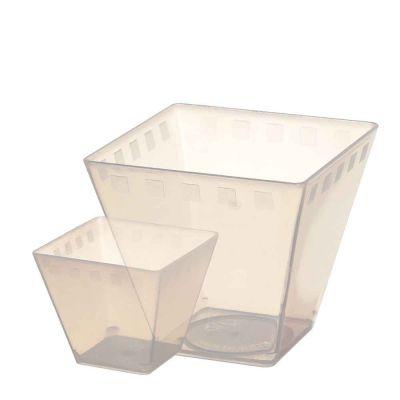 Bicchierini monoporzione quadrati in plastica BIO Cubini