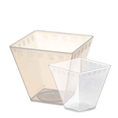Bicchierini quadrati Cubini plastica standard e BIO