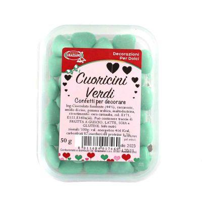Confetti di cioccolato cuoricini verdi per decorazione 50 g