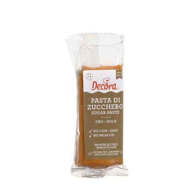 Pasta di zucchero oro per copertura 100 g Decora