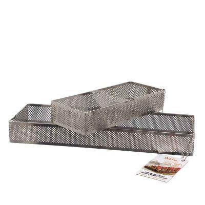 Sagoma forma rettangolare acciaio inox microforato 10 x 29cm Decora