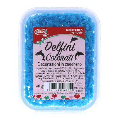 Delfini di zucchero colorati azzurro per decorazione torte 40 g