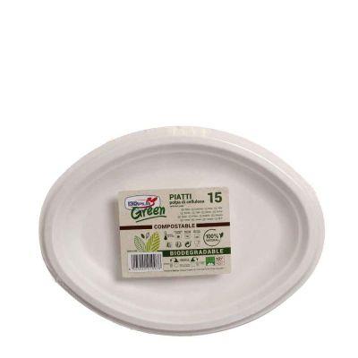 15 Piatti vassoi ovali in polpa di cellulosa DOpla Green compostabili 26x19 cm