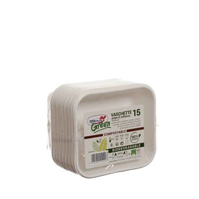 15 Vaschette rettangolari in polpa di cellulosa DOpla Green compostabili