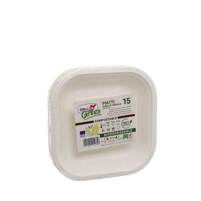15 Vaschette quadrate in polpa di cellulosa compostabili 18x18cm