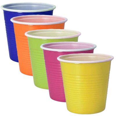 30 Bicchieri lavabili e riutilizzabili colorati in plastica DOpla 230cc