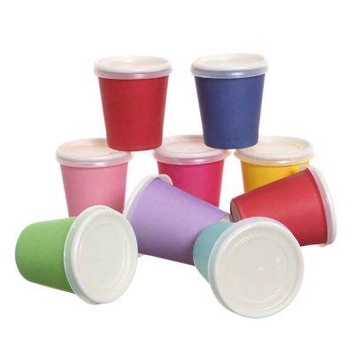 100 Bicchierini da caffè in carta colorati con coperchio piano 80ml