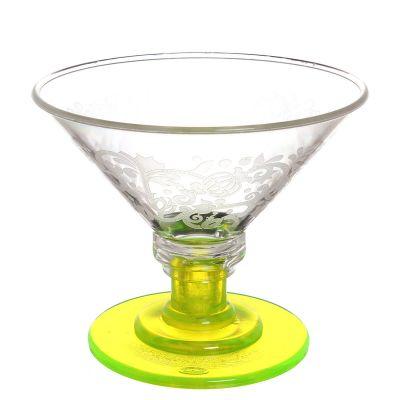 Coppe per gelato infrangibili di policarbonato giallo fluo