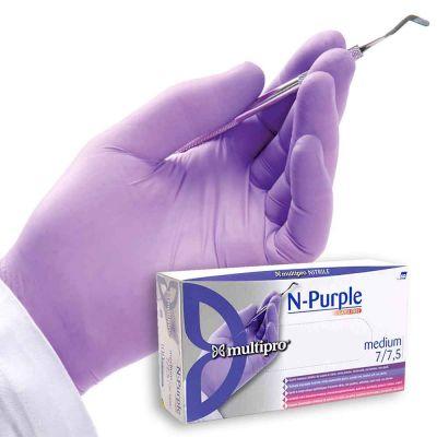 100 Guanti medicali nitrile Multipro N-Purple taglie varie