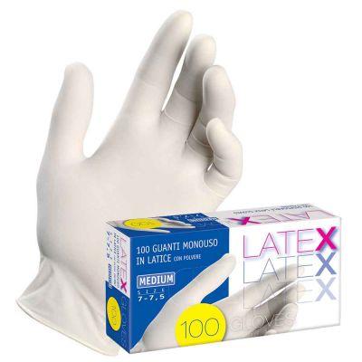 Guanti in lattice monouso Latex colore bianco taglie a scelta