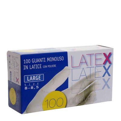 Guanti in lattice monouso Latex colore bianco taglia L