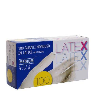 Guanti in lattice monouso Latex colore bianco taglia M
