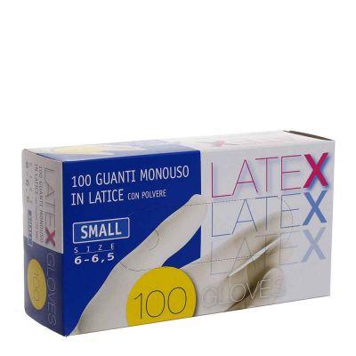 Guanti in lattice monouso Latex colore bianco taglia S