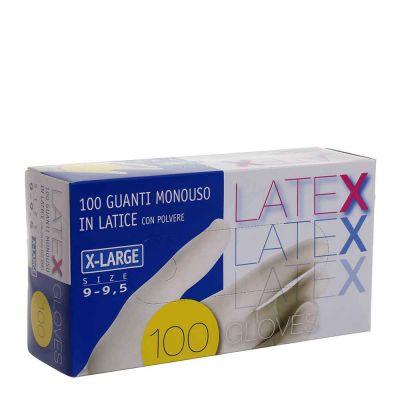 Guanti in lattice monouso Latex colore bianco taglia XL