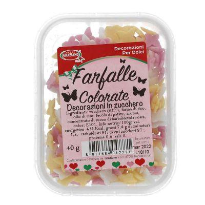 Farfalle di zucchero colori misti per decorazione torte 40 g