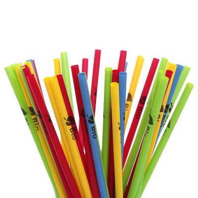 500 Cannucce rigide BIO colorate in PLA compostabili 21 cm Ø6 mm