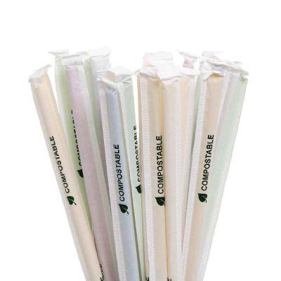 500 Cannucce colorate da cocktail PLA compostabile incartate singole 21 cm Ø6 mm