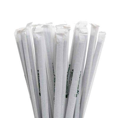 400 Cannucce nere pieghevoli PLA compostabili incartate 24cm Ø5mm