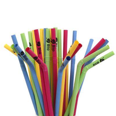 250 Cannucce colorate pieghevoli in PLA compostabili 24cm Ø8mm