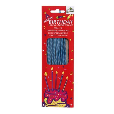 Candeline compleanno lunghe e sottili Spirale blu - confezione