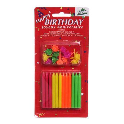 Candeline compleanno Neon fiamma multicolore - confezione