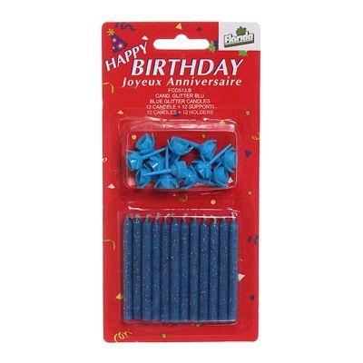 Candeline compleanno glitterate blu - confezione