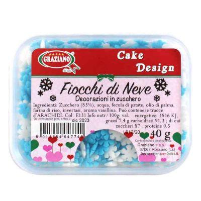 Fiocchi di neve di zucchero bianchi e azzurri per decorazione torte 40 g