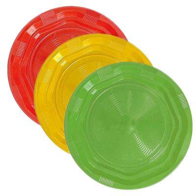 25 Piatti di plastica fondi riutilizzabili e lavabili colorati DOpla Ø22 cm