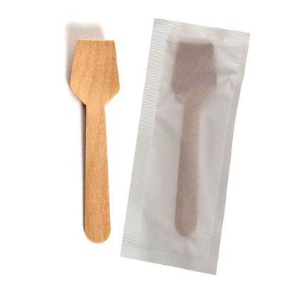 Paletta cucchiaino di legno imbustato per gelato 9,5cm