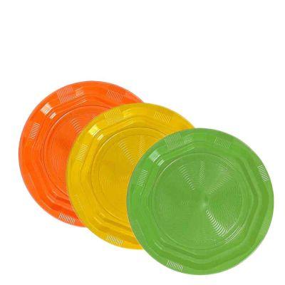 25 Piattini di plastica riutilizzabili e lavabili colorati DOpla Ø17 cm
