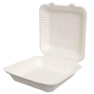 50 Box con coperchio asporto compostabili in polpa 23,2x23,2xh7,6cm