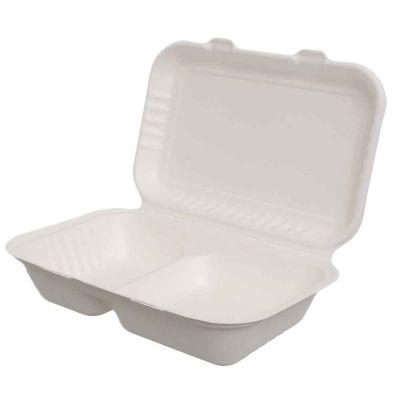 50 Box doppi con coperchio asporto in polpa compostabili 24,9x16xh6,5cm