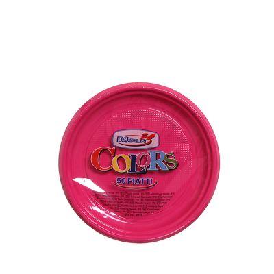 Piatti di plastica colorati per feste DOpla Colors Ø17 fucsia