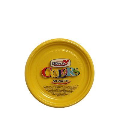 50 Piatti di plastica colorati DOpla Colors Ø17 cm giallo