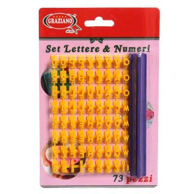 Set 73 Stampini Lettere e Numeri in plastica 5 x 5 mm