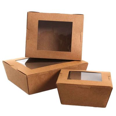 50 Box take away in cartoncino con coperchio a cerniera e finestra