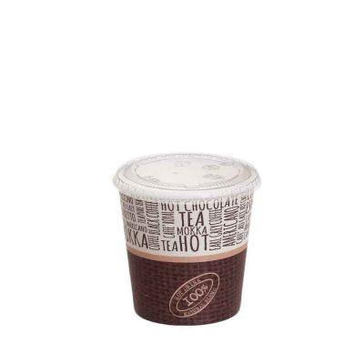 100 Bicchierini da caffè in cartoncino Juta con coperchio piano 120ml