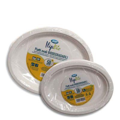 50 Vassoi piatti ovali in polpa di cellulosa Ilip Biodegradabili