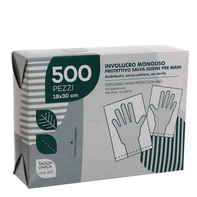 Confezione 500 Sacchetti guanti protettivi per mani salva igiene 18X30 cm