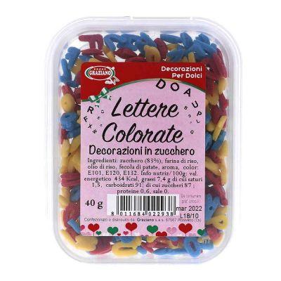 Lettere di zucchero colorate per decorazione torte 40 g