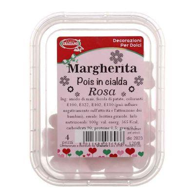 4 Margherite di ostia cialda a pois rosa per decorazione