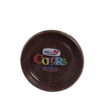 Piatti di plastica colorati DOpla Colors Ø17 marrone cioccolato
